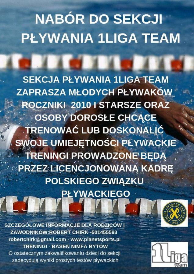 Nabór do sekcji pływania 1Liga team